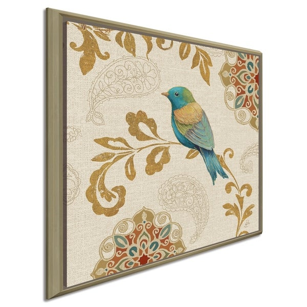 """Daphne Brissonnet """"Bird Rainbow Blue and Yellow"""" Giclee Stretched Canvas Wall Art"""