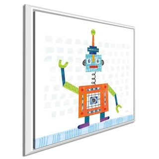 "Melissa Averinos ""Robot Party III on Squares"" Giclee Stretched Canvas Wall Art"