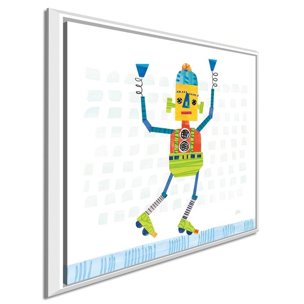 """Melissa Averinos """"Robot Party I on Squares"""" Giclee Stretched Canvas Wall Art"""