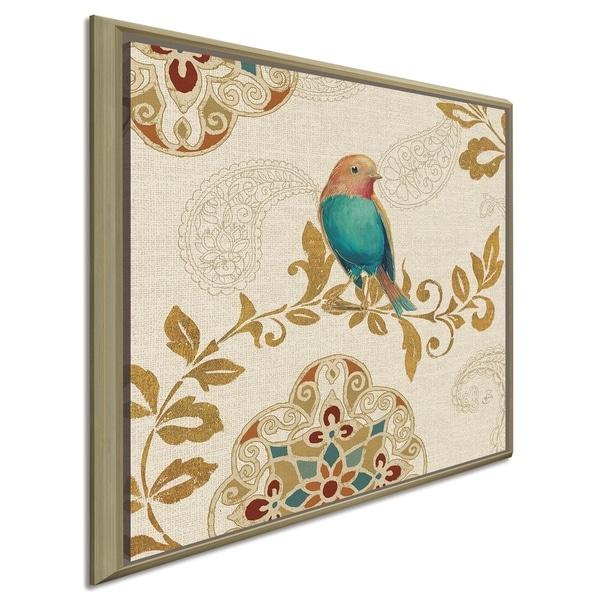 "Daphne Brissonnet ""Bird Rainbow Teal"" Giclee Stretched Canvas Wall Art"
