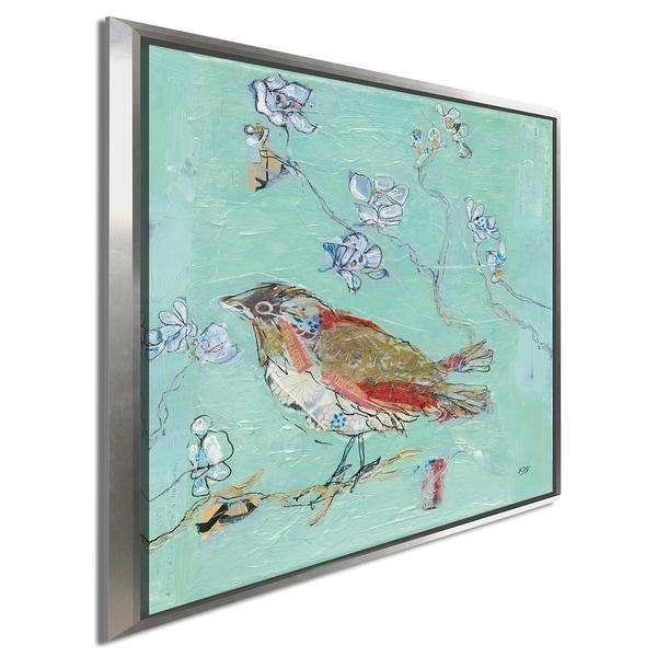 "Kellie Day ""Aqua Bird"" Giclee Stretched Canvas Wall Art"