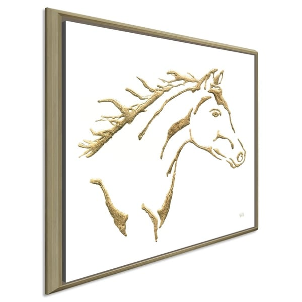 """Chris Paschke """"Gilded Filly on White"""" Giclee Stretched Canvas Wall Art"""