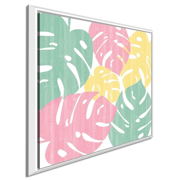 """Sarah Adams """"Monstera II Bright on White"""" Giclee Stretched Canvas Wall Art"""