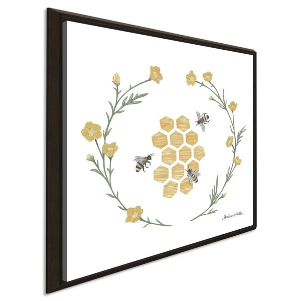 """Sara Zieve Miller """"Happy to Bee Home III"""" Giclee Stretched Canvas Wall Art"""