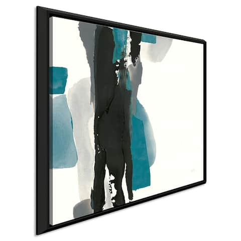 """Chris Paschke """"Black and Teal II"""" Giclee Stretched Canvas Wall Art"""