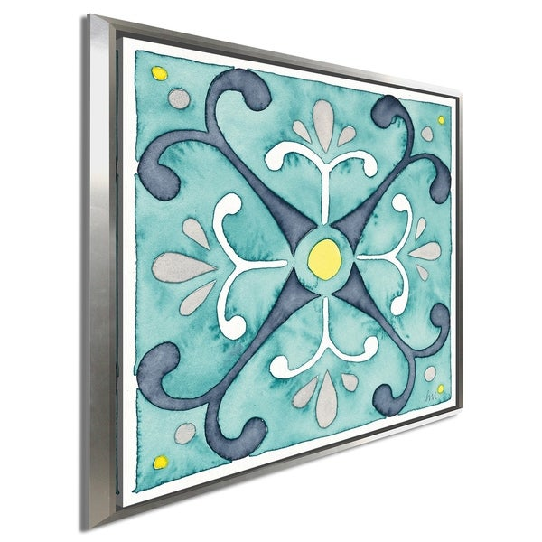 "Laura Marshall ""Garden Getaway Tile III Teal"" Giclee Stretched Canvas Wall Art"
