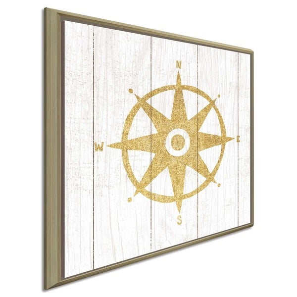 "Michael Mullan ""Beachscape IV Compass Gold Neutral""Canvas Print in Floating Frame"