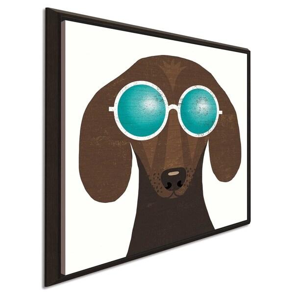 "Michael Mullan ""Beach Bums Dachshund I"" Canvas Print in Floating Frame"