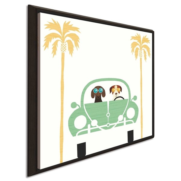 """Michael Mullan """"Beach Bums Beetle I square"""" Canvas Print in Floating Frame"""
