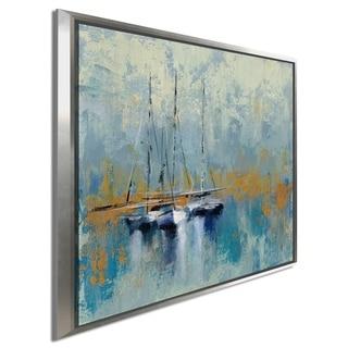 "Silvia Vassileva ""Boats in the Harbor III"" Giclee Stretched Canvas Wall Art"