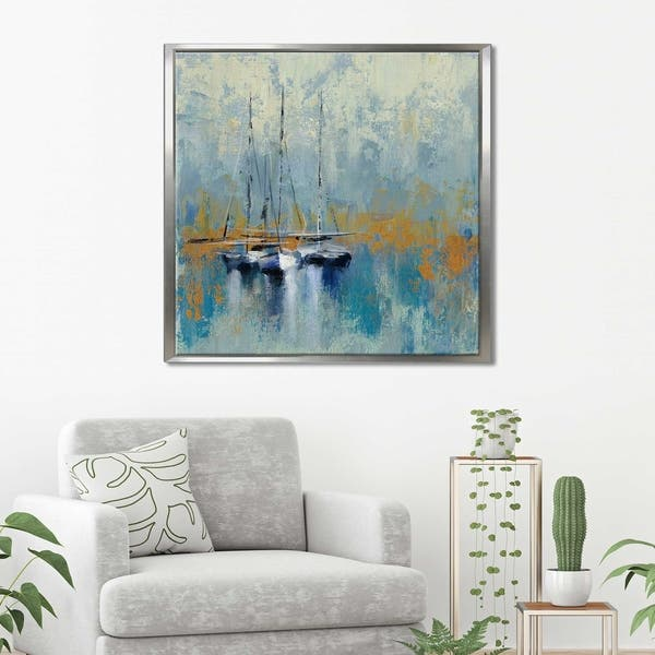 Silvia Vileva Boats In The Harbor Iii Giclee Stretched Canvas Wall Art