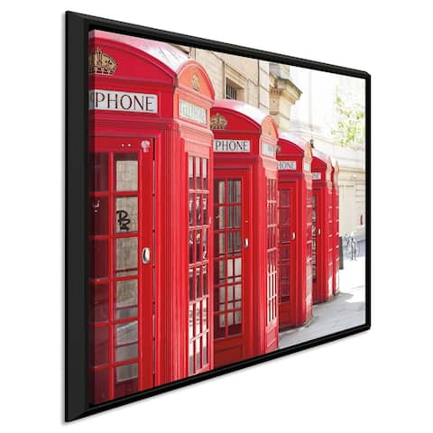 """Keri Bevan """"Covent Garden Phone Boxes"""" Giclee Stretched Canvas Wall Art"""