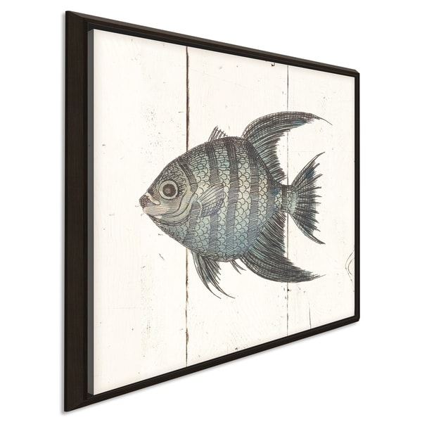"""""""Fish Sketches II Shiplap"""" Giclee Stretched Canvas Wall Art"""
