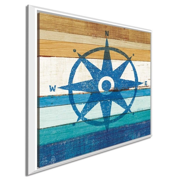 """Michael Mullan """"Beachscape IV Compass"""" Canvas Print in Floating Frame"""
