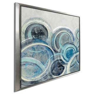 "Silvia Vassileva ""Variation Blue Grey II"" Giclee Stretched Canvas Wall Art"