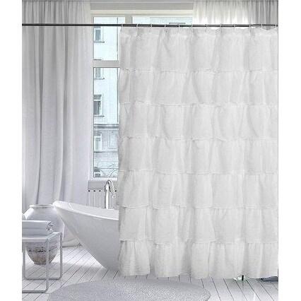 Ruffled Shower Curtain White 70 Wide X 72 Long