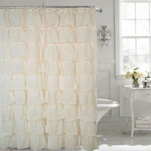 Ruffled Shower Curtain Cream 70 Width X 72 Length