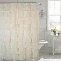 "Ruffled Shower Curtain Cream 70"" width x 72"" length"