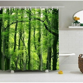 72 Inch72 inch Green Forest Shower Curtain with 12 Steel Hooks