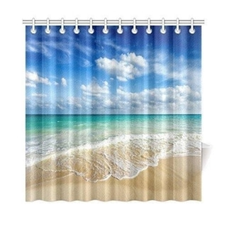 Beach Ocean Theme Shower Curtain, 72 By 72 Inches Extra Long