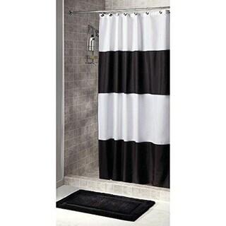 Bold Stripe Black/White Extra-Long Fabric Shower Curtain