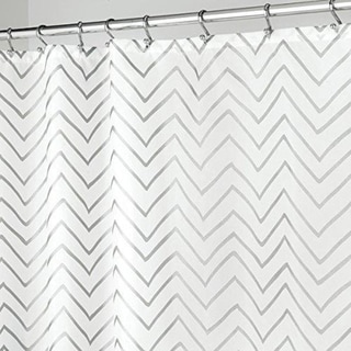 Long Decorative Metallic Chevron Print Fabric Shower C