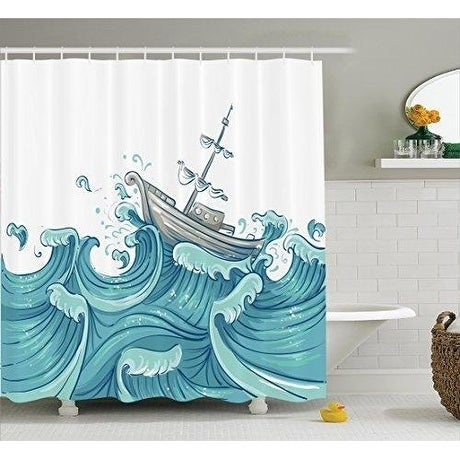 Nautical Decor Shower Curtain 69W X 70L Inches Blue Grey