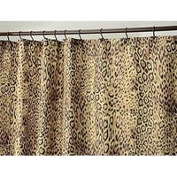 "Cheetah Print Fabric Shower Curtain - 72"" x 84"", Brown"