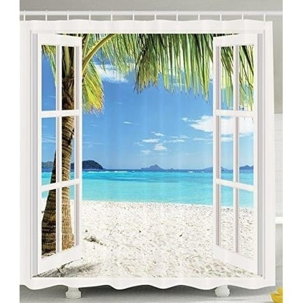 Ocean Shower Curtain Decor, Tropical Palm Trees on an Island Beach