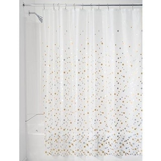 """Decorative PEVA 3G Shower Curtain Liner 72"""" x 72"""",Silver/Gold"""