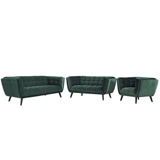 Bestow 3 Piece Velvet Sofa Loveseat and Armchair Set