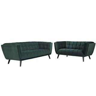 Bestow 2 Piece Velvet Sofa and Loveseat Set