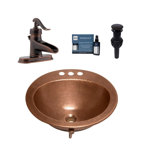 """Sinkology Bell 19"""" All-in-One Copper Sink and Ashfield Faucet Kit. Opens flyout."""