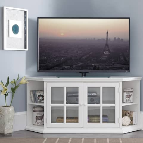 Cottage White 56 Inch Corner TV Console with Bookcase/Display