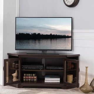 Chocolate Cherry & Bronze Glass 56 Inch Corner TV Console with Bookcase/Display