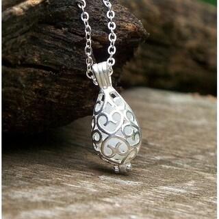 Handmade Recycled Vintage Pond's Cream Jar Silver Filigree Teardrop Necklace (United States) - White