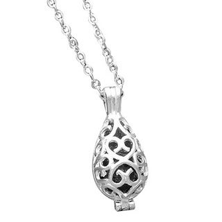 Handmade Recycled Black Depression Glass Silver Filigree Teardrop Necklace (United States)