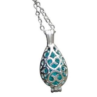 Handmade Recycled Vintage Mason Jar Filigree Teardrop Necklace - Blue (United States)