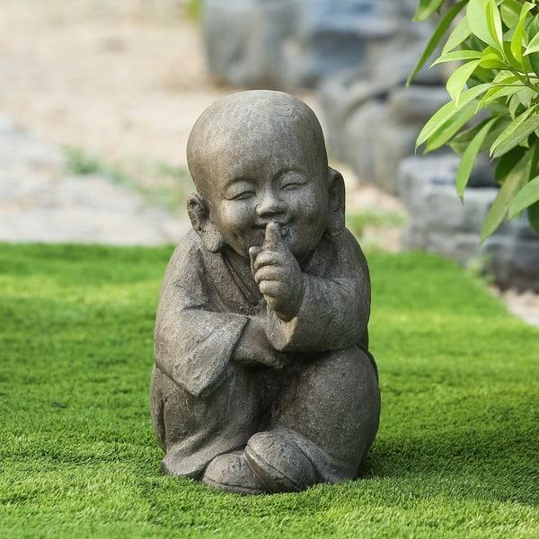 Quiet Little Buddha Garden Statue Handmade All Seasons