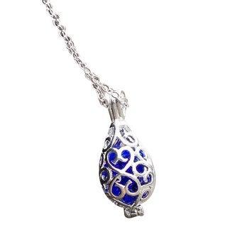 Handmade Recycled Vintage 1960's Skin Cream Cobalt Jar Filigree Teardrop Necklace - Blue (United States)