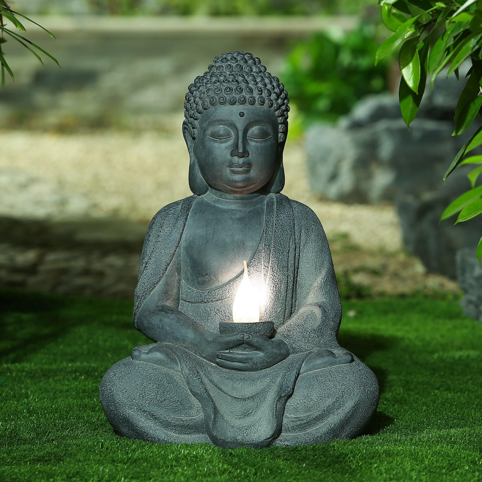 Meditating Buddha Garden Statue With Solar Light On Sale Overstock 20463700