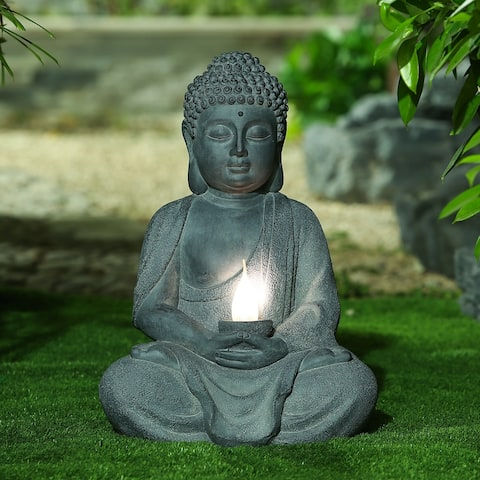 Meditating Buddha Garden Statue with Solar Light