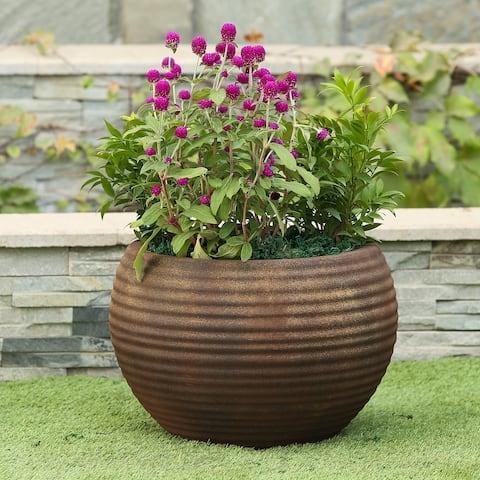 Classic Bronze Ribbed Bowl Planter