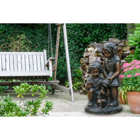 Boy & Girl Statue with Solar Light