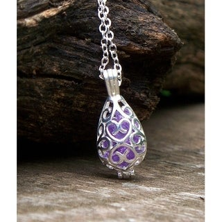 Handmade Recycled Early 1900's Purple Medicine Bottle Filigree Teardrop Necklace (United States)