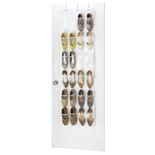 Clear Over the Door Shoe Organizer - 24 Stitch-Secured Pockets, Hanging Closet Organizer for Shoes, Socks, Ties, Toiletries etc.