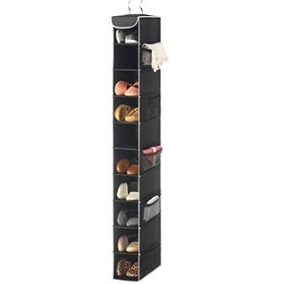 10-Shelf Hanging Shoe Organizer 10 Mesh Pockets for Accessories -Black