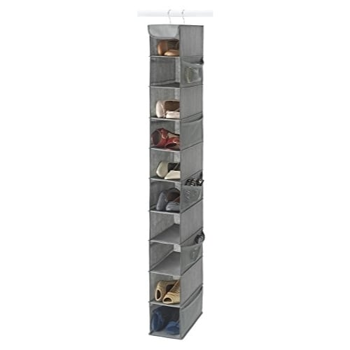 Attirant 10 Shelf Hanging Shoe Organizer, Shoe Holder For Closet   10 Mesh Pockets  For