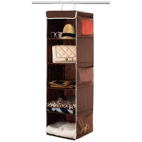 5 Shelf Hanging Closet Organizer Hanging Shelves With 6 Side Pockets