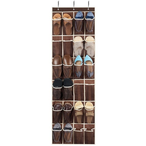 Over the Door Shoe Organizer, 24 Breathable Pockets, Hanging Shoe Holder for Shoe Storage, Accessories, Toiletries, Laundry etc.